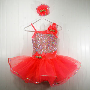 Coral and Silver Sequin Tutu Dance Costume